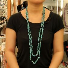 Collar De Cadena Mujer Turquesa Super Larga Pulsera Super Bonito Regalo