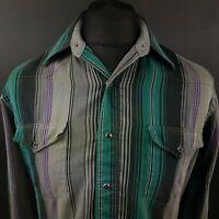 Wrangler Mens Vintage Western Shirt Pearl Snap Rodeo MEDIUM Long Sleeve