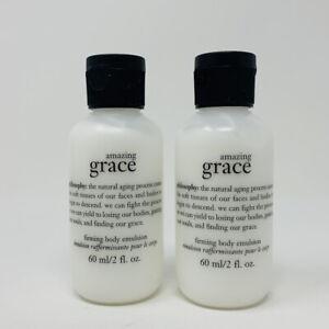 2x Philosophy Amazing Grace Firming Body Emulsion lotion Moisturize 2oz Ea NWOB