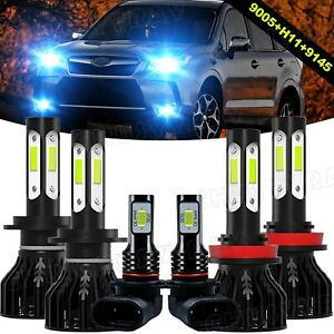 For Subaru Forester 2009-2013 LED Headlights Hi/Lo Fog Light 6*Bulbs Combo Kit