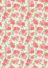 Fat Quarter Island Girl Peach Hibiscus Flowers 100% Cotton Quilting Fabric
