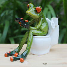 Creative 3D Resin Frog Figurines Novelty Crafts Sitting Toilet Ornaments A