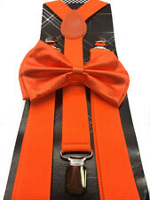 Neon Orange Bow Tie & Suspender Set Tuxedo Wedding Formal Men's Accessories New
