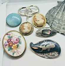 VINTAGE SILVER & CAMEO 7  BROOCHES RARE ENGLISH NIELLO MOTHER OF PEARL