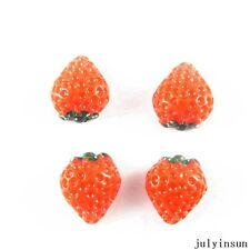 20PCS Resin Fruit Red Strawberry Flatback Cabochon DIY Accessories Crafts 51203