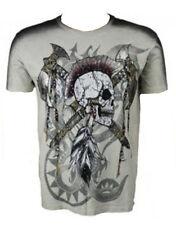 KONQUEST PLATINUM Men's Mohawk Skull with Axes Print T-Shirt Ecru (KQTS026)