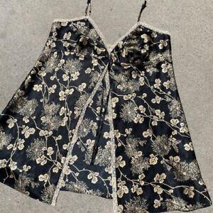 pretty silky floral tan & black lingerie slip dress from victoria's secret XL