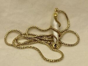 RARE Victorian Pearl 14k Gold Antique Snake Serpent Pendant Necklace 7.7g