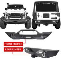 Full Width Front Bumper Mid Rear Bumper w/ LED Lights For Jeep Wrangler JK 07-18