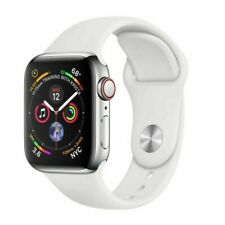 Apple Watch Series 4 GPS + Cellular 44mm Stainless Steel Case White Sport Band