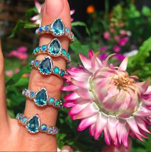 Millie Savage zircon, aussie opal ring in sterling silver