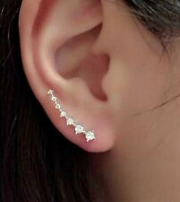 Silver Plated Crystal Rhinestone Ear Cuff Clip Earrings Climber stud Rings ecf03