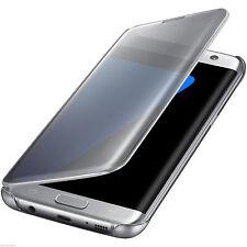 Samsung Galaxy S7 Edge Clear Semi-opaque Flip View Custodia Argento