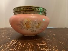 Antique Milk Glass Hurricane Lamp Shade Pink with Yellow Roses