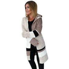 Womens Knitted Hooded Cardigan Coat Colour Block Sweater Jacket Jumper Outwear