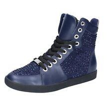 scarpe donna LIU JO 36 EU sneakers blu camoscio pelle strass BS649-36