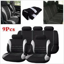 Gray+Black 9pcs Car Seat Covers for Sedan Set Split Bench Option 5 Headrests Kit