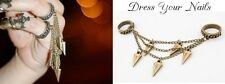 Double Ring Tapered link chain Punk Bullet Ring Costume Jewellery Gold Plated