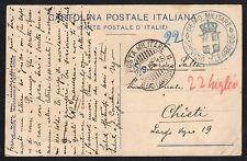 STORIA POSTALE REGNO 1915 Cartolina Franchigia da PM 3°Div. a Chieti (FILT)