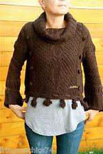 gros pull court boléro laine marron hiver MC PLANET T 38 neuf étiquette Val 160€