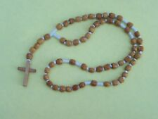Beautiful Hand-Tied Wooden Rosary, Natural Wood Color - Mexico