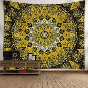 Mandala Yellow Black Hippie Tapestry Bohemian Floral Tapestries Home Decor
