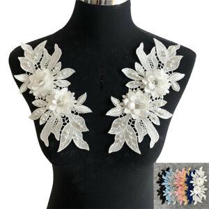 Stickerei 1 Paar Perle Spitze Applikation Nähen Hochzeit Kleid Borte Blume