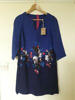 Joules Floral A Line Blue Dress Fully Lined Size 10