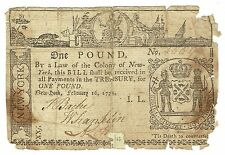 Colonial Currency New York 1 Pound Feb 16,1771 Fr Ny163 Repaired Rare Gift
