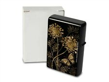 Petrol Lighter Printed in black butterfly flower gold