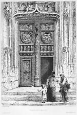 ORIGINAL ETCHING Print - FRANCE Rouen  Doorway at Church of St. Maclou