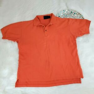 Dockers by Levis Mens Polo Shirt Size L Orange Short Sleeve 1/4 Button o1729