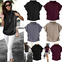 Women Turtleneck Top Short Sleeve Cotton Lady Blouse Top T Shirt Plus Size Top