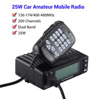 25W Mini 200CH Dual Band Car Amateur Mobile Ham Radio Walkie Talkie Transceiver