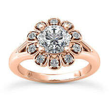 Halo Split Shank 1.15 Carat VS2/H Round Diamond Engagement Ring Rose Gold