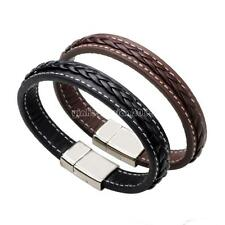 Men Stainless Steel Leather Bracelet No Pattern Braided Wrist Bangle Hand Band