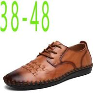 New Men's Casual Loafers Cow Leather Breathable Lace Up Driving Moccasins Shoes