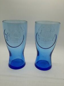 2 1961 Vintage McDonald's Blue Collectible Glass Reproductions