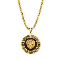 "Mens Stainless Steel Lion Head Biker Link Chain Medallion Pendant Necklace  22"""