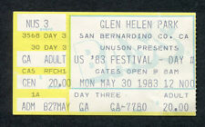Original 1983 Us Festival Concert Ticket Stub U2 David Bowie Pretenders Berlin
