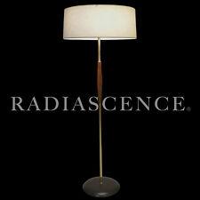 GERALD THURSTON LIGHTOLIER ATOMIC MODERN PROFILE BRASS WALNUT FLOOR LAMP 1955