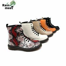 Neu Damen Stiefeletten Worker Boots Winter Boots Stiefel Schnürboots Lack Schuhe