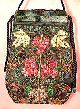 Retro Evening Bag Purse Handbag Flower Garden Black Satin Sequins Beads
