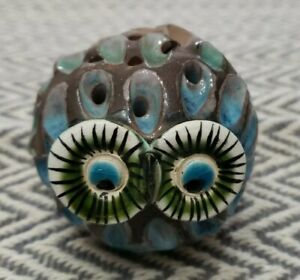 """Vintage Clay Owl Paperweight 2.5"""""""