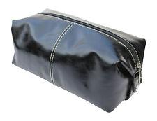 Kangaloon black leather toiletries/storage bag