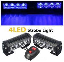 2x Blue 4 LED Car Truck Strobe Flash Grille Light Warning Hazard Emergency Lamp