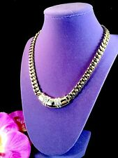SWAROVSKI S.A.L. 18K GOLD PLATE CHAIN NECKLACE CRYSTAL RHINESTONE CURVED PENDANT