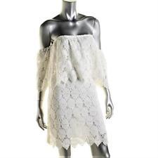 JOA $108 Womens WHITE Crochet OFF THE SHOULDER COLD SHOULDER DRESS SZ L NWT