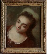 18th CENTURY FRAGONARD SCHOOL FRENCH ROCOCO OIL PORTRAIT OF YOUNG GIRL