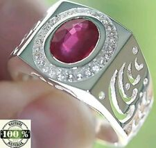 MEN'S 4.75 cts BLOOD RED RUBY & WHITE TOPAZ RING SOLID 925SS S#11.  JD turns 7